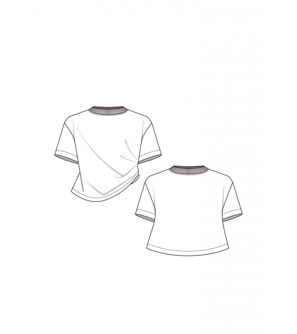 Asymmetric top with pleats