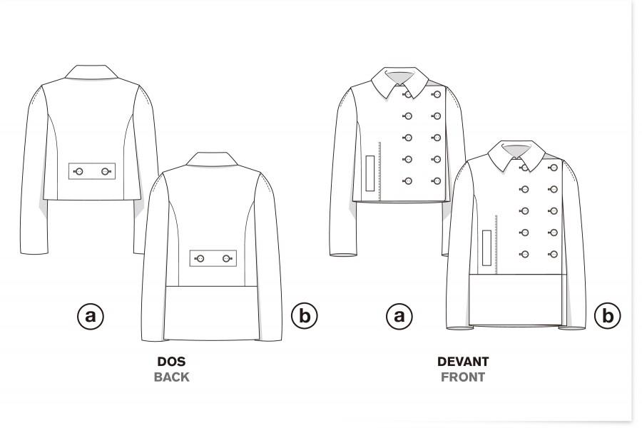 Asymmetric double-breasted pea-coat