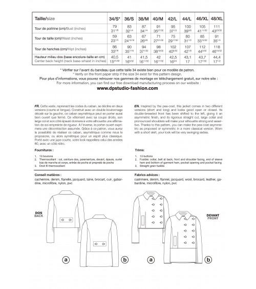 Le 103a et b - Caban asymétrique à double boutonnage