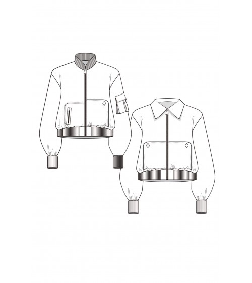 Bomber jacket with asymmetric pockets