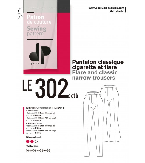 Pantalon classique cigarette + flare