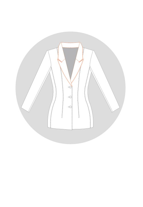 Tailored collar on an enlarged neckline