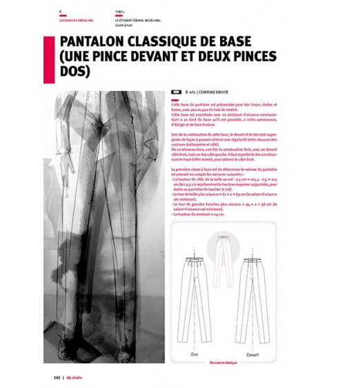 Pantalon classique de base (une pince devant et deux pinces dos)