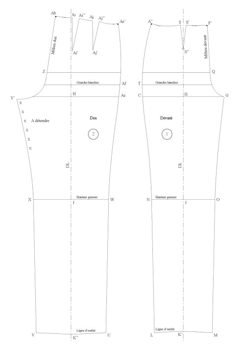 Classical trouser base pattern (one front dart and two back darts)