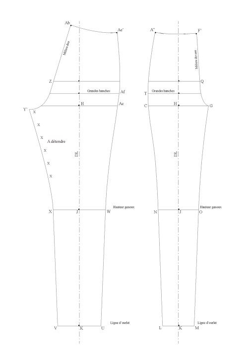Base pattern for slim-cut cigarette pants that sit on the waist