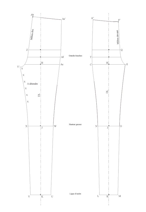 Base pattern for leggings that sit on the waist