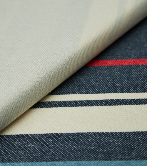 Blue/off white/red striped...