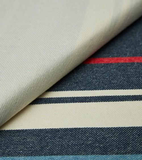 Coton rayé bleu/écru/rouge