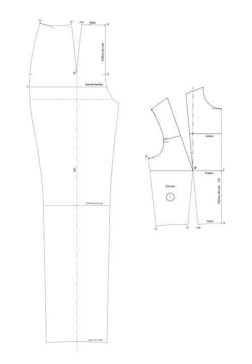 Jumpsuit with a waist seam