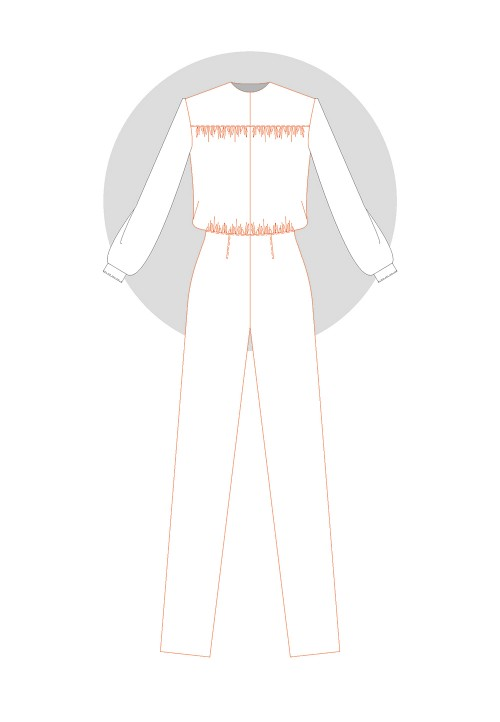 Jumpsuit with a waist seam and blouse (unfitted) bodice