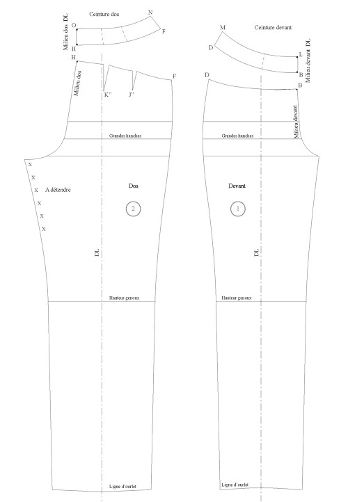 Shaped waistband for low-waist garments