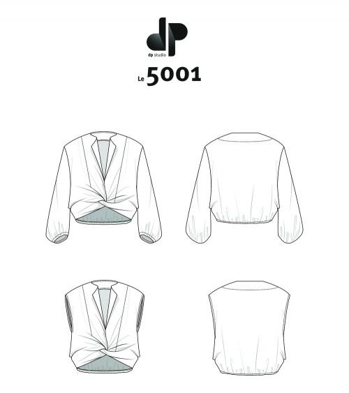 Le_5001 Tie-neck blouse,...