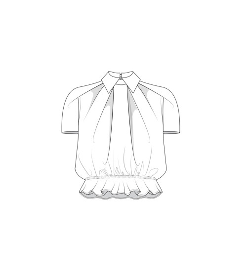 Blouse with box pleats and...
