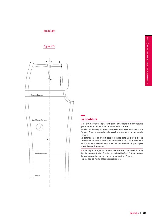 Seam allowance value for base pattern trousers (luxury)
